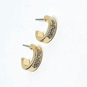 New! Rhinestones Half Hoop Earrings Gold